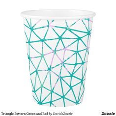 Triangle Pattern Green and Red Paper Cup  #geometric #red #green #teal #pink #triangle #pattern #print #abstract #art #line #digital #paper #ink #hand #drawn #hip #modern #style #life #lifestyle #chic #buy #sale #zazzle #interior #design #home #decor #apartment #college #dorm #student