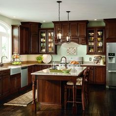 Kitchen cabinets Thomasville Classic in. Cabinet Door Sample in Addington Cherry French Ro Cherry Wood Kitchen Cabinets, Cherry Wood Kitchens, Dark Wood Kitchens, Brown Kitchens, Kraftmaid Kitchen Cabinets, Green Kitchen Walls, Home Decor Kitchen, Rustic Kitchen, New Kitchen