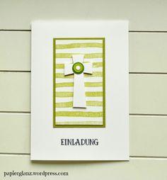 Kommunion&Konfirmationskarten Kreuz grüngestreift