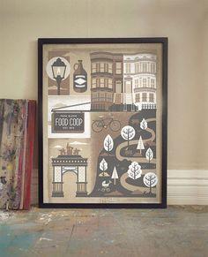 NYC Park Slope Brooklyn Art Print  Silkscreen Artprint by twoarms, $30.00