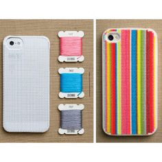 DIY cross-stitch iPhone case. I will never do this, but I'll pin it just in case.
