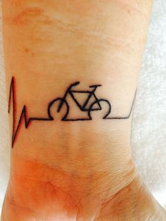 ECG Bicycle tattoo from Sawyer Family Artistic Tattooing Amsterdam.