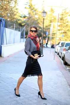 Fabulous Street Style. Love her skirt love we scarf love love the whole outfit
