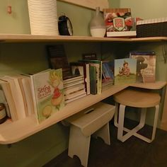 If your tiny home is going to be mobile with children, especially school age children, then you have to consider a space designated for school supplies and learning. There are 100 books in that small bookcase.
