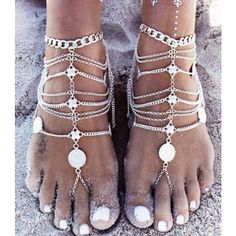 Beach Bum Foot jewelry ($30) ❤ liked on Polyvore featuring jewelry, silver, beachy jewelry and beach jewelry