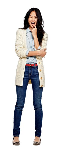 trend: chambray - jcp denim shirt, skinny jeans, and cable cardigan