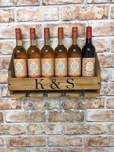 Personalised Wine Rack, wine gift, mother's day gift, reclaimed wood, pallet wood, birthday gift, housewarming by Rusticretrofurniture on Etsy https://www.etsy.com/uk/listing/489711052/personalised-wine-rack-wine-gift-mothers