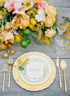 yellow, pink and green wedding table decor