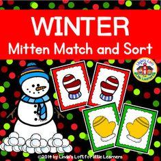 Winter Mitten Match and Sort Activity