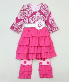 Hot Pink A-Line Tunic & Pants - Infant, Toddler & Girls by Ruffles by Tutu AND Lulu #zulily #zulilyfinds