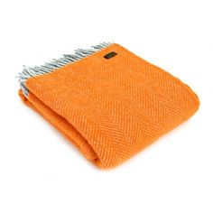Tweedmill Pure New Wool Herringbone Throw Blanket Silver Grey & Orange - Tweedmill from Hurn & Hurn UK