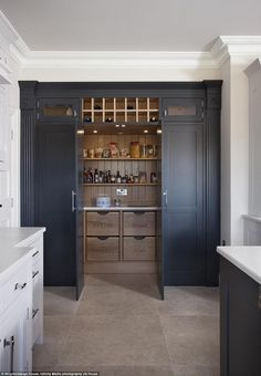 Walk in pantry! Growing trend: Houzz UK, an online platform for home renovation and design, analysed its users' activity and found that pantry cupboards have risen to become one of the most 'saved' photo categories on the site Kitchen Pantry Design, Kitchen Cupboards, Kitchen Interior, New Kitchen, Kitchen Decor, Kitchen Pantry Cupboard, U Shape Kitchen, Baking Cupboard, Inset Cabinets