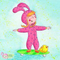 Charakterdesign Ostern Kind im Hasenkostüm - Portfolio Sandy Thissen