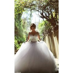 2015 Long Sleeve Romantic Wedding Dresses Crystals Backless Ball Gown... ❤ liked on Polyvore featuring dresses and wedding dresses