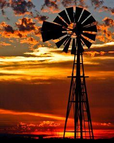 We have beautiful sunsets every night. The sand from the Mojave Desert mixes with the atmosphere that creates some of the most stunning sunsets I have ever seen. Beautiful Sunset, Beautiful Places, Ranch, Old Windmills, Sunrises, Water Mill, Water Tower, Old Barns, Oklahoma Usa
