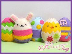 Delightful Felt Easter Eggs, Chick and Bunny - PDF Pattern. $5.00, via Etsy.