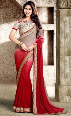 USD 63.47 Red Faux Georgette Party Wear Saree 44131