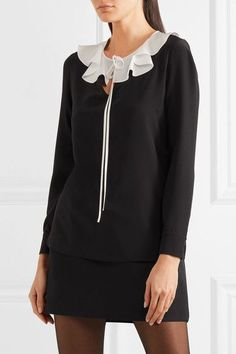 Saint Laurent - Ruffled Silk Crepe De Chine Blouse - Black - FR44