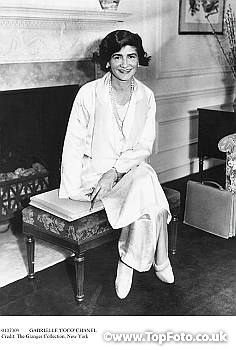 bb737b883d3 Portrait of French fashion designer Gabrielle  Coco  Chanel posing in her  suite at the Hotel Pierre during her first visit to New York City.