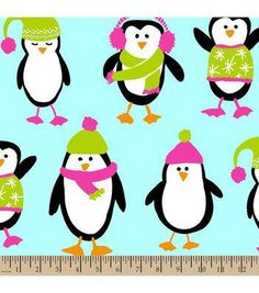 Anti Pill Fleece Fabric-Penguins Teal