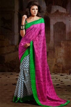 Hot Pink, Pastel Green, White Silk Half-Half Printed Saree