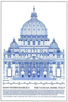 P. KENT FAIRBANKS ARCHITECT / PHOTOGRAPHER - historical architectural drawings - Saint Peter's Basilica, Rome, Italy