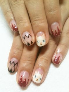 Cat Nail Art Inspiration 2 from Disco Nails in Shibuya, Japan