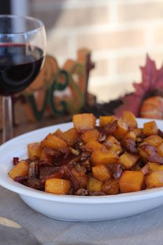 #paleo #thanksgiving Maple Bacon Pecan Roasted Butternut Squash