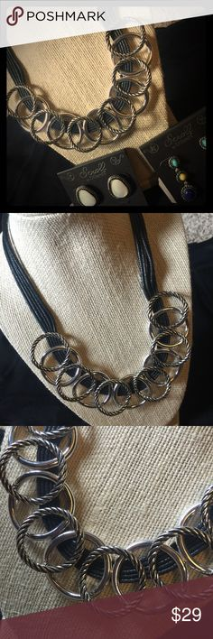 SCROLL by DILLARDS Necklace Multi-leather strand necklace. Silver and Silver with Antiqued Black circles. Very stylish! Scroll by Dillards Jewelry Necklaces