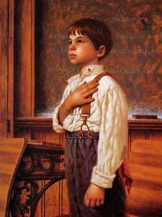 Let's put this image back in all our schools!!/ Once upon a time USA children loved their country. Painting by Jim Daly