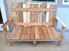pallet wood outdoor furniture sofa Funky Junk Interiors -- i'm going to make this for the backyard! Old Pallets, Recycled Pallets, Wooden Pallets, Pallet Wood, Outdoor Pallet, Diy Pallet, Outdoor Benches, Garden Pallet, Outdoor Couch