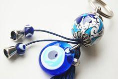 #Kabbalah #KeyChain Handmade Evil Eye and Turkish Ceramic Silver Plated