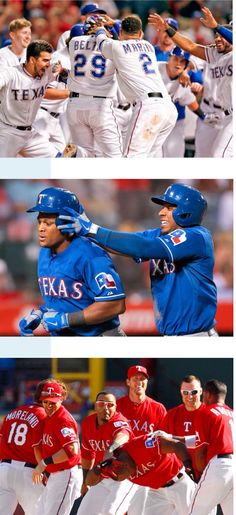 Messing with Adrian Beltre's hair! Most likely culprit - Elvis Andrus - from…