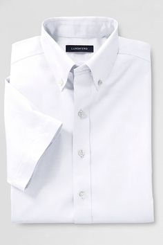 School Uniform Short Sleeve Solid No Iron Pinpoint Shirt from Lands' End primary to high school