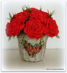 MAGGII Pracownia Artystyczna: Róże, deco i papierowa wiklina