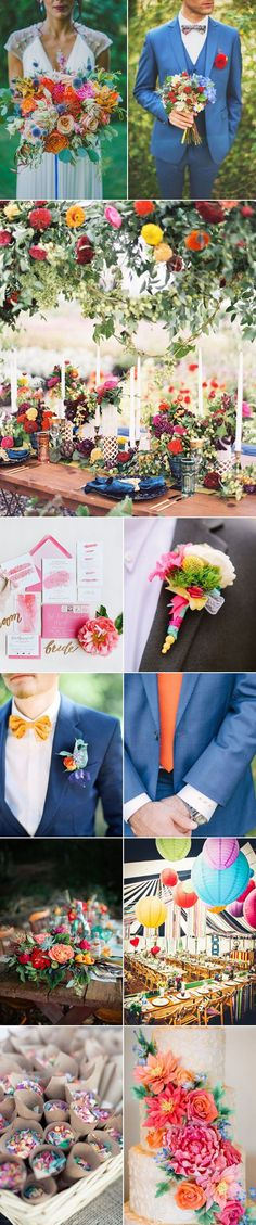 Celebrate the coveted aesthetic of summer on your wedding day in a palette of wildly bright hues. In our opinion, brighter the better! Imagine a wedding with overflowing floral bouquets in punchy reds, corals and pinks that coordinate with colorful groomsmen accessories