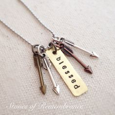 Blessed Mama Psalm 127:3-5 Arrow Necklace  I would add two beads for Asher & Noah
