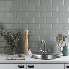Metro Sage bathroom wall tiles from @tilemountain Perfect for kitchens it bathrooms as colour very versatile
