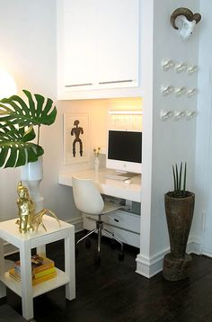 Idea for small closet --> desk area  I'm trying to figure out how to use my wasted closet space.