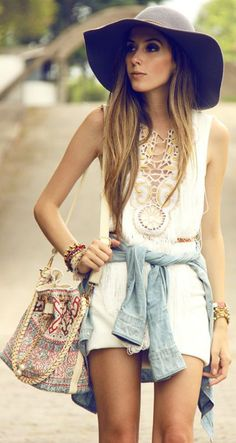 Coachella, Festival, boho, Ibiza, chic, fashion, style, trend, streestyle. White mini dress, denim shirt, floppy hat