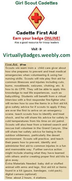 First Aid Girl Scout Cadette Badge earned online!