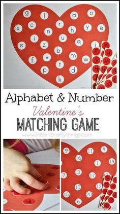 Alphabet and Number Valentine's Matching Game (Free Printable)   Great Valentine's Day activity for kids