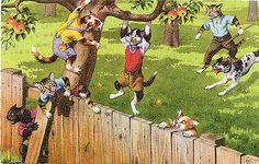 Mainzer Dressed Cats-Kitties-#4867-Fence-Tree Climbing-Backyard Fun Postcard