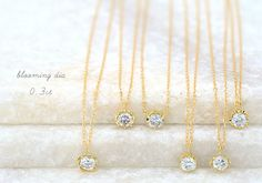 K18 diamond necklace blooming dia 0.3ct