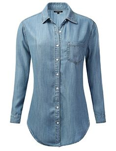 JJ Perfection Women's Denim Chambray Button Down Tunic Shirt * Find out more details @…