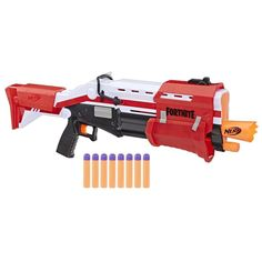 Be ready for an epic battle with this Nerf Fortnite TS Blaster - Pump Action Dart Blaster. CAUTION: Do not aim at eyes or face. TO AVOID INJURY: Use only with official NERF darts. Do not modify darts or dart blaster.