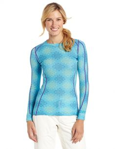 Women's #Fashion Clothing: Blouse, Tops, Shirts, and Sweaters: Helly Hansen Women's Warm Ice Crew Baselayer #Blue with #Snowflake Pattern: Clothes