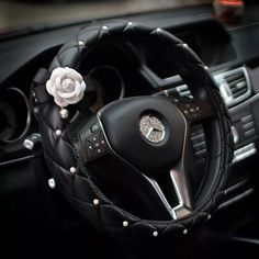 Luxury Vegan Leather Steering wheel cover with Camellia