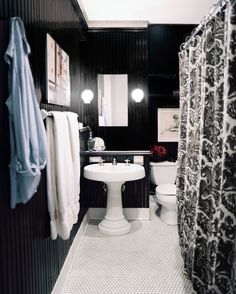 Bathroom Decor Ideas : Description Hollywood Regency Vintage Bathroom: Black walls paired with a white pedestal sink. Dark Bathrooms, White Bathroom, Small Bathroom, Neutral Bathroom, Gothic Bathroom, Beautiful Bathrooms, Wainscoting Height, Dining Room Wainscoting, Black Wainscoting