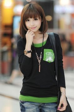 $7 for Pretty girl army green autumn long sleeve tops